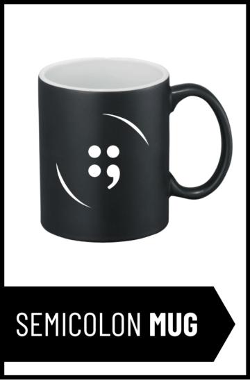 Semicolon Button Mug